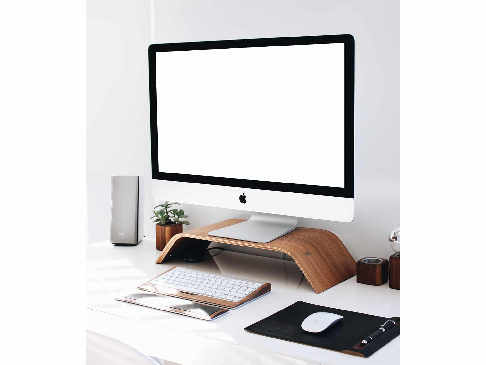 Very best iMac on Wooden Monitor Stand Mockup | The Mockup Club KI86